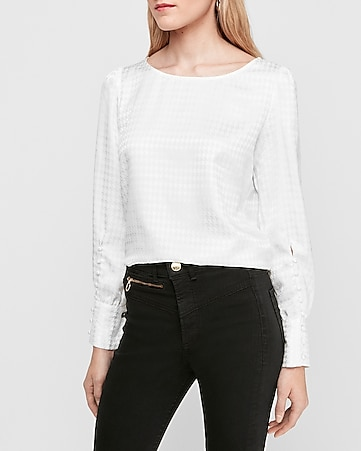 Jacquard Houndstooth Puff Sleeve Large Cuff Top by Express