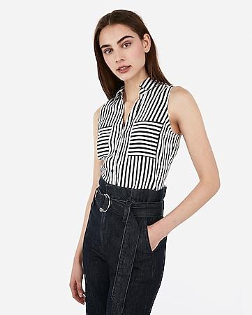 07b71ddc9a716 Express View · slim fit satin striped sleeveless portofino shirt