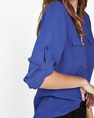 petite long sleeve zip front blouse