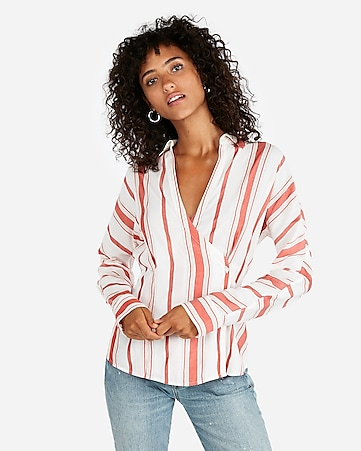 4d1335ac4f express view · striped side button blouse