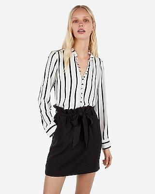 petite slim fit striped ruffle collar portofino shirt