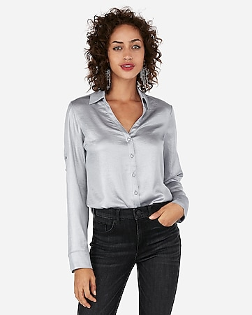 Express View Slim Fit Shimmer Portofino Shirt