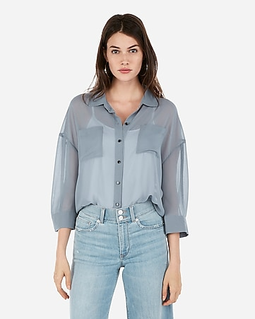 14f85bbecf57 Express View · sheer boxy button-up shirt