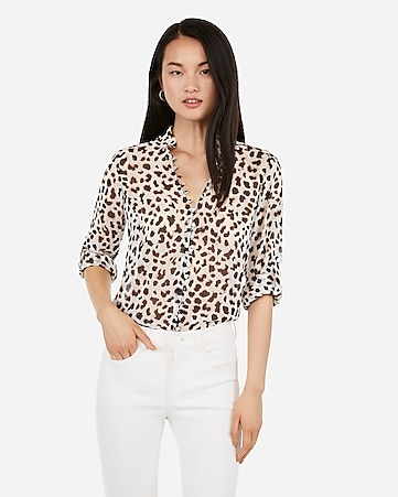 69c808334bb5 Express View · slim fit leopard ruffle chiffon portofino shirt