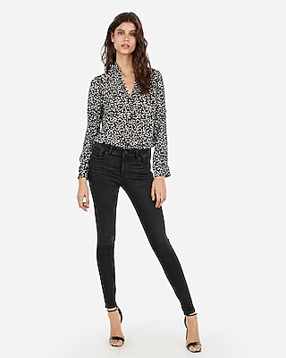 Slim Fit Printed Ruffle Chiffon Portofino Shirt by Express