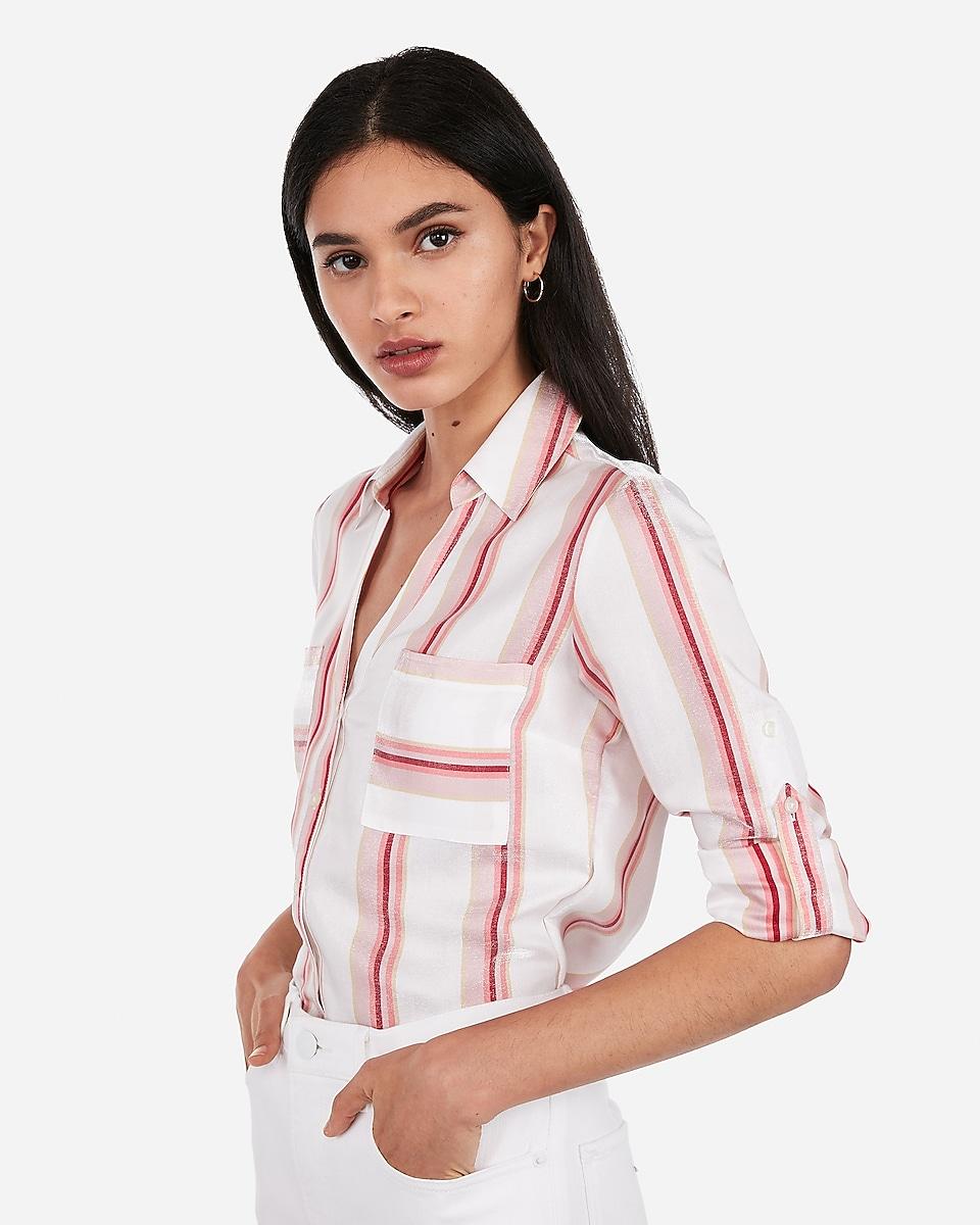 Petite slim striped shimmer portofino shirt