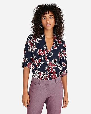petite slim covered button floral portofino shirt