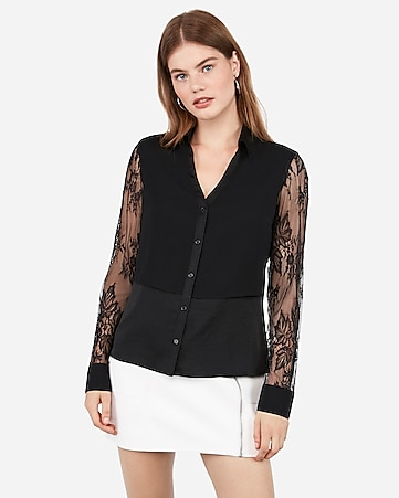 Slim Fit Lace Sleeve Chiffon Overlay Portofino Shirt by Express