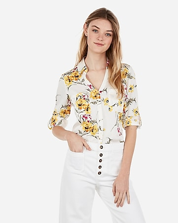 85ebd0b218 Express View · original fit satin floral print portofino shirt