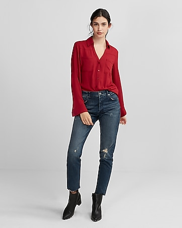 Long Sleeve Zip Front Blouse | Express