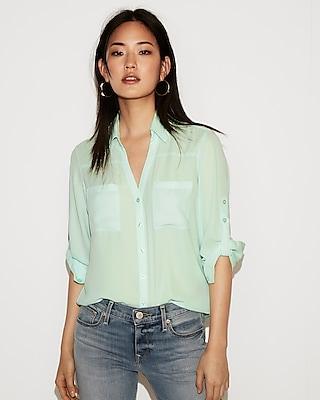 petite slim fit convertible sleeve portofino shirt