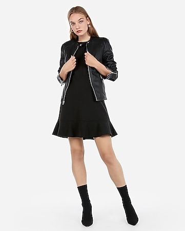 f42271742876c Express View · (minus the) leather double peplum jacket
