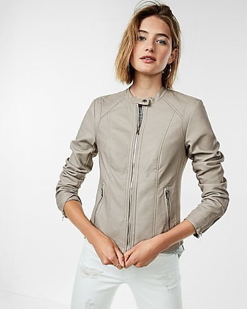 c8a2a2a70b4 Express View · petite double peplum (minus the) leather jacket