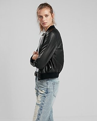 minus The) Leather Bomber Jacket | Express