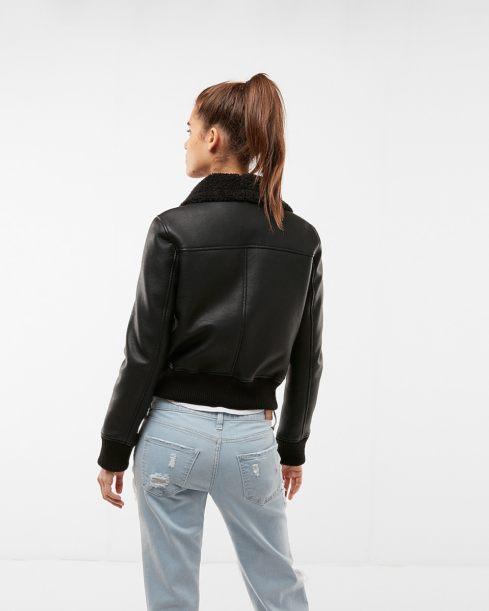 Faux Fur (minus The) Leather Aviator Jacket | Express