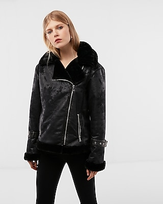 Bell Sleeve Faux Fur Moto Jacket Express