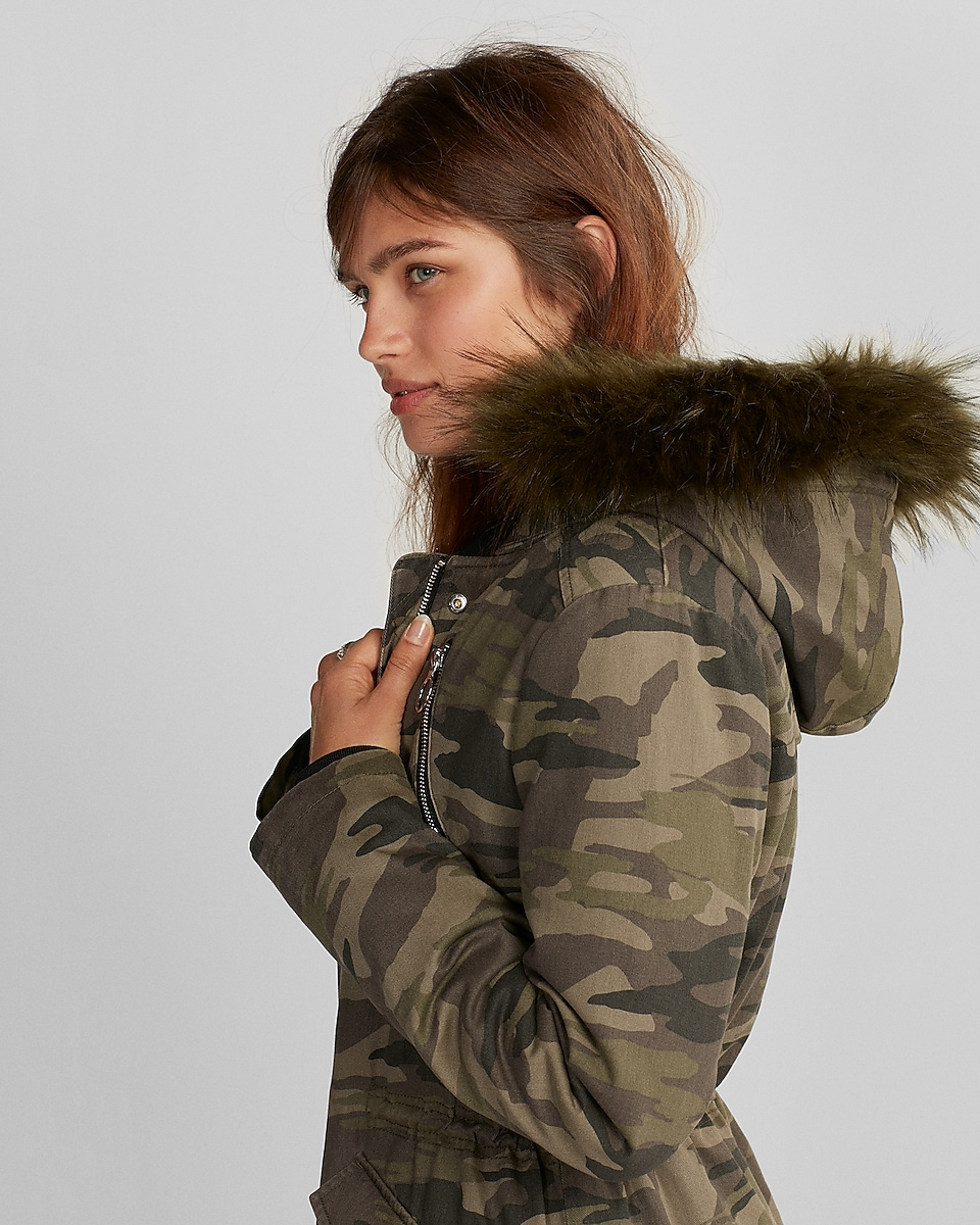 Faux Fur Hooded Parka   Express