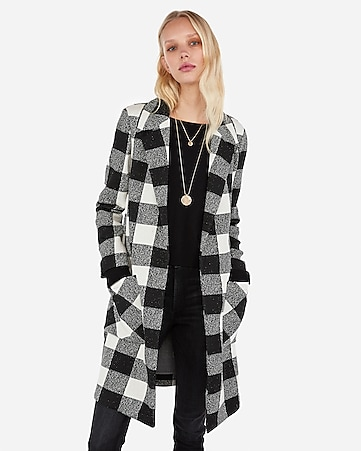dc22fa5a4c3b5c Express View · checker print notch collar open coat