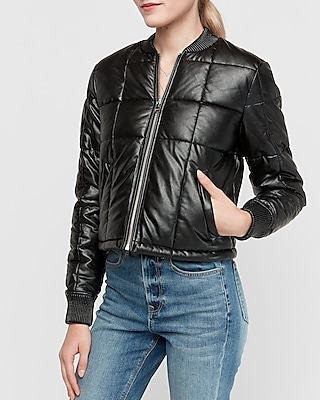 Express.com deals on Express Womens Cropped Vegan Leather Puffer Jacket