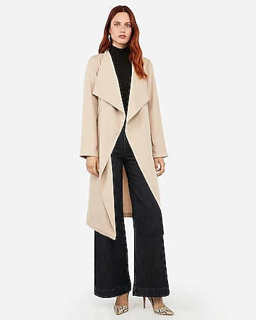 Flyaway Tie Front Satin Trench Coat by Express