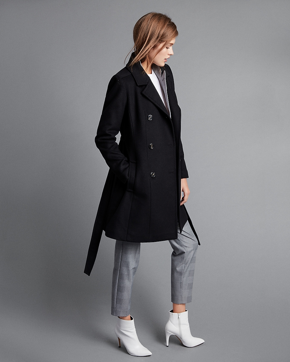 Premium Wool Blend Belted Trench Coat | Express