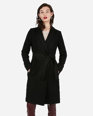 c3dfc3a2f7fa Express View · long belted wool-blend car coat
