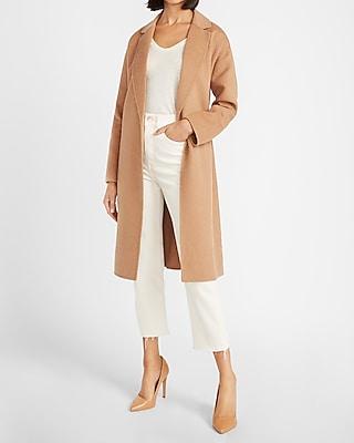 Womens Duster Wrap Over Pocket Trench Coat Cardigan Blazer Belted Jacket LA