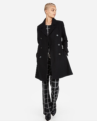 petite belted wool blend trench coat