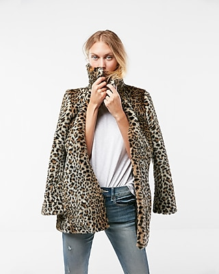 Image result for express leopard faux fur coat