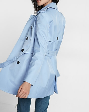 petite classic trench coat with trapunto stitch sash