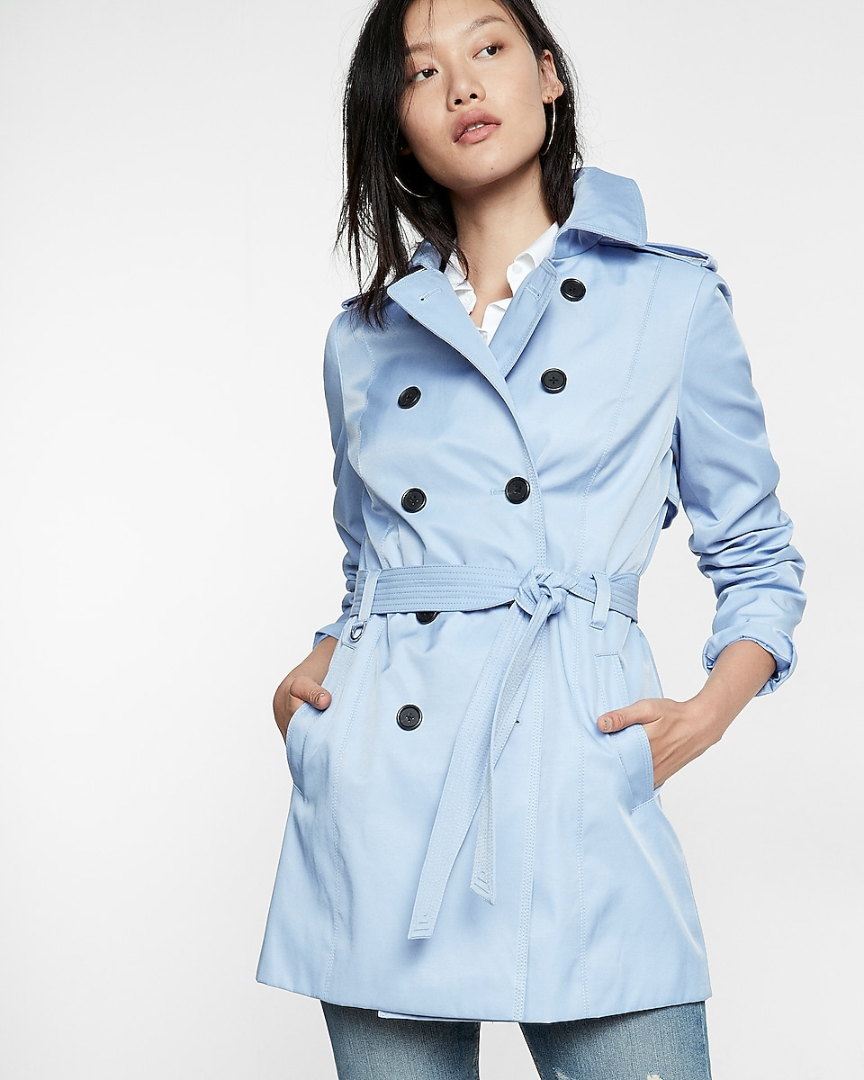 Petite Classic Trench Coat With Trapunto Stitch Sash | Express