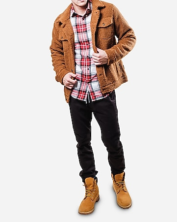 Brooklyn Cloth Brown Sherpa Trucker Jacket by Express