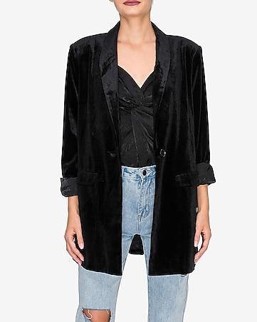 Endless Rose Black Velvet Single Breasted Blazer by Express