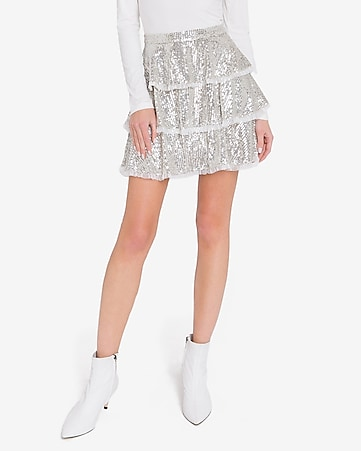 endless rose silver sequin tiered skirt