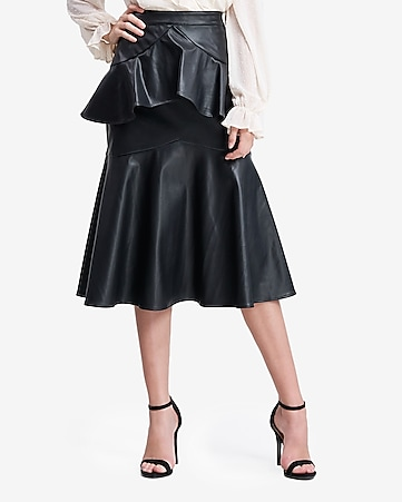 en saison high waisted vegan leather ruffle midi skirt