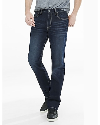 loose fit straight leg dark wash jeans