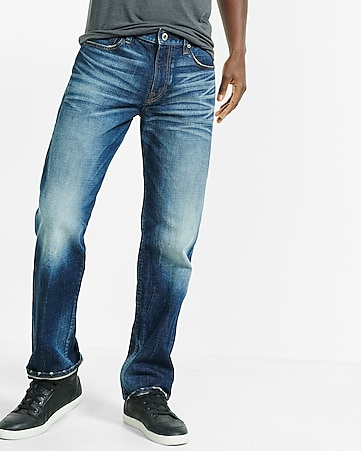 Loose Straight Faded Stretch Jeans | Express