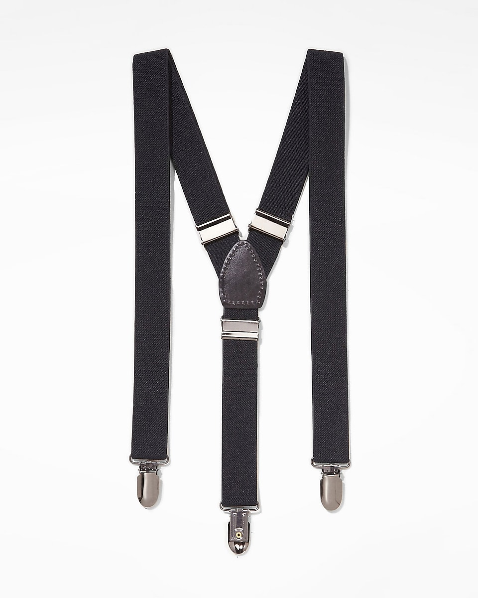 Men's suspenders serve the dual purpose of keeping your pants up and looking stylishly retro. They hang over your shoulders and feature durable clips or buttons to attach to the front and back of your pants.
