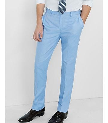 slim photographer blue oxford cotton dress pant