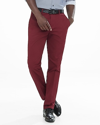 slim photographer stretch cotton red dress pant