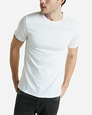 Stretch Cotton Crew Neck Tee | Express