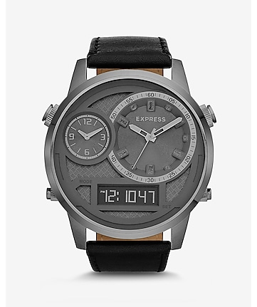 extra large analog and digital leather strap watch