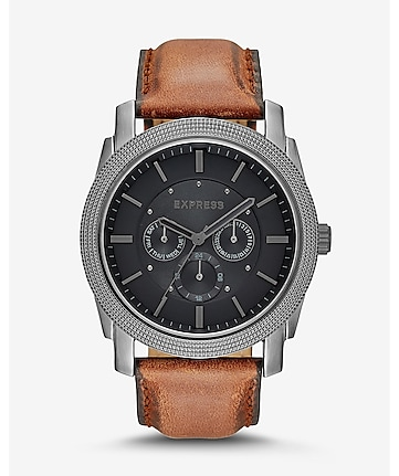 rivington multi-function watch - brown leather
