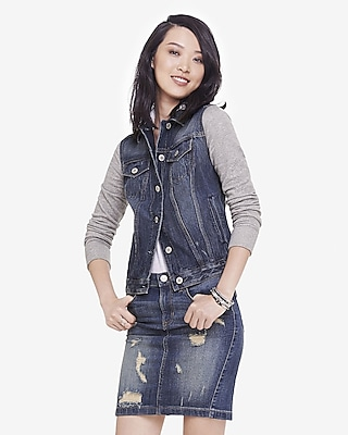 Sweatshirt Sleeve Hooded Denim Jacket | Express