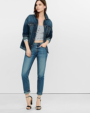 Drop Shoulder Denim Boyfriend Jacket | Express