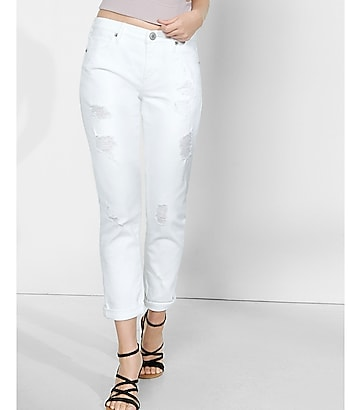 Distressed White Girlfriend Jeans | Express