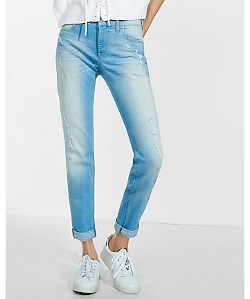 mid rise light blue distressed faded girlfriend jeans