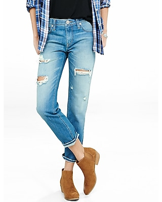 Mid Rise Distressed Faded Unrolled Girlfriend Jeans | Express