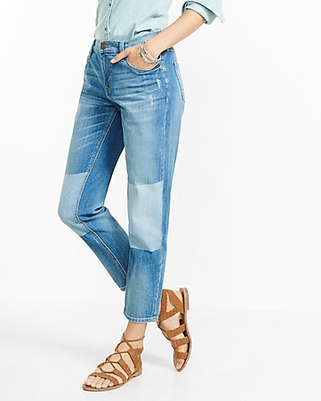 distressed shadow mid rise patch girlfriend jeans