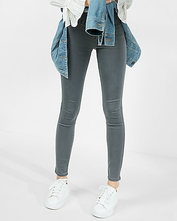 gray mid rise stretch+ jean leggings